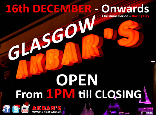 16th decemnber onwards until boxing day Glasgow branch is open at 1pm