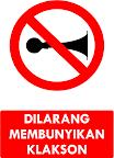 Rambu Dilarang Membunyikan Klakson