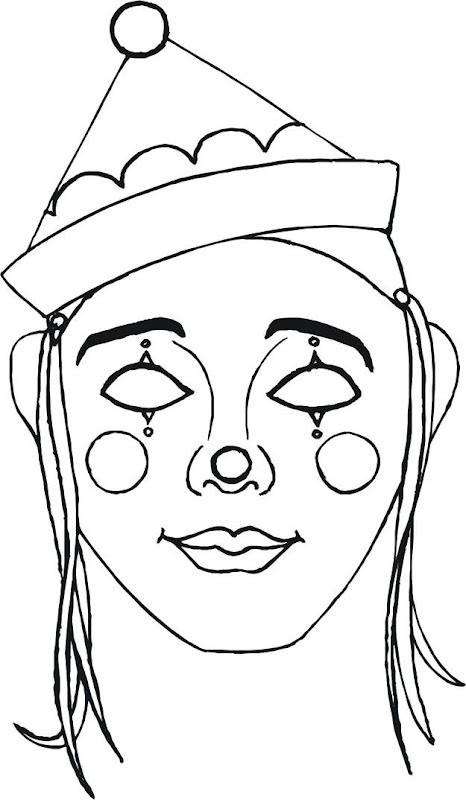 Máscara de payasito para colorear