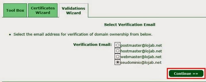 Email de verificação dominio
