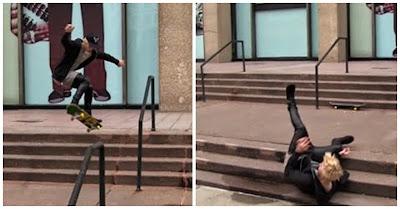 Justin Bieber em grande falhanço sofre queda ao andar de skate