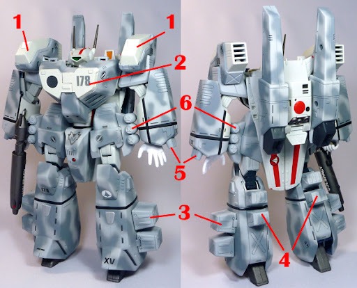 The Super Dimension Fortress Macross VF-1J GBP-1S Ground-combat protector weapon system Armored Valkyrie GBM Custom Operation  Gray Fox Armament weapon position