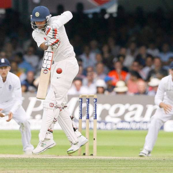 India's Bhuvneshwar Kumar hits out during the second cricket test match at Lord's cricket ground in London July 20, 2014.