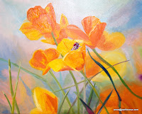 Shiny mood yellow flowers with beetle Oil on Canvas 40 x 50 cm