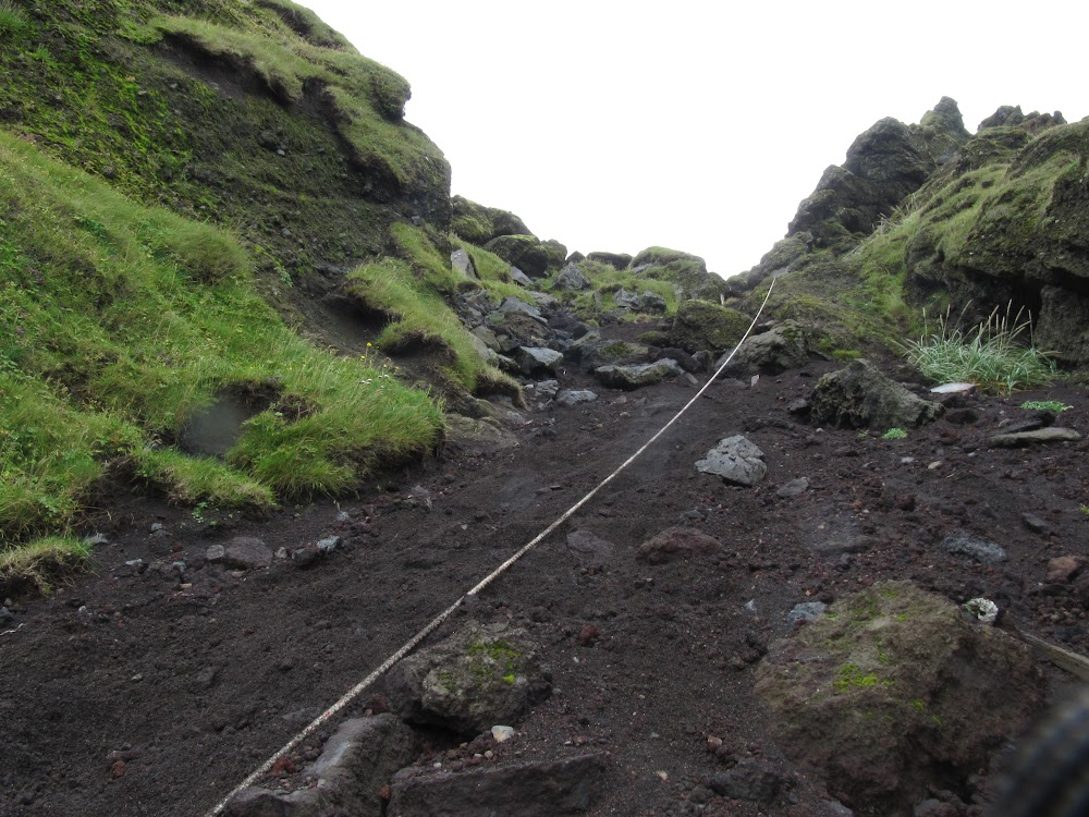 Hiking up a volcanic hill