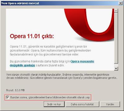 Opera Otomatik Güncelleme