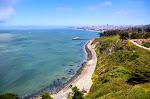 Blick zurück auf San Francisco von der Golden Gate Bridge aus