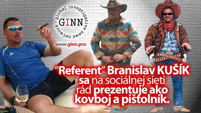 Referent Branislav Kušík sa na sociálne sieti prezentuje ako pištolník