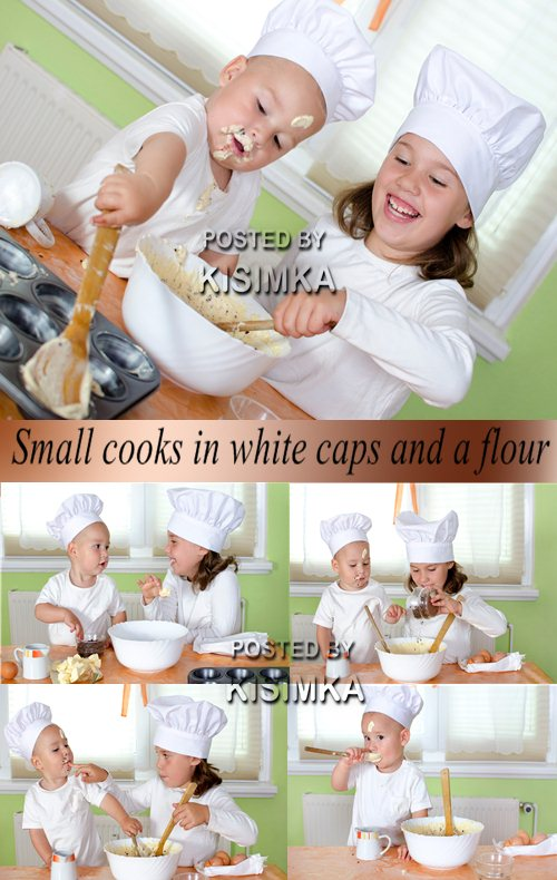 Stock Photo: Small cooks in white caps and a flour
