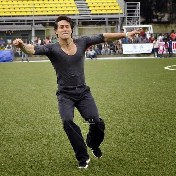 Tiger Shroff during a charity soccer match organised by Aamir's daughter Ira Khan, at Cooperage ground, on July 20, 2014.(Pic: Viral Bhayani)