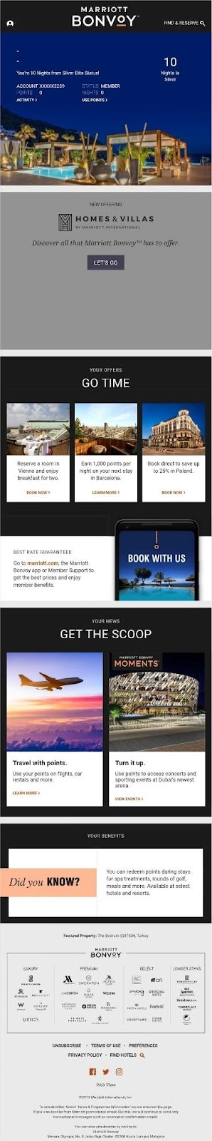 Marriott travel email example