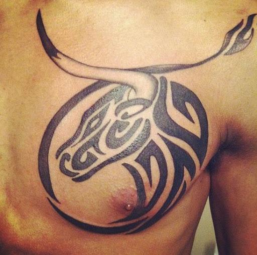 tribal bull Chest Tattoos