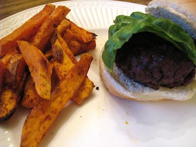 venison burger and sweet potato fries
