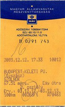 Automatás jegy (régi)