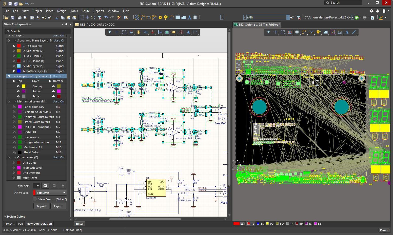 Bildschirmfoto in AD mit den im Layout platzierten markierten Bauteilen aus dem Schaltplan
