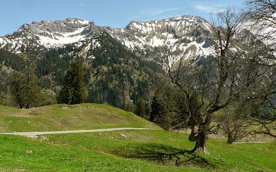 Blick von der Schwarzenberghütte ins Hintersteinertal Giebel Hindelang Allgäu
