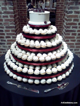 Custom Elegant Modern Black Ivory And Tan Er Cream Wedding Cupcake Tower With Topper Cake