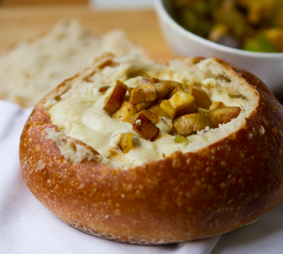 "Vegan ""Clam"" Chowder. Sourdough Bread Bowl."