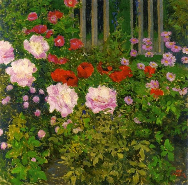 Koloman Moser - Blooming Flowers with Garden Fence
