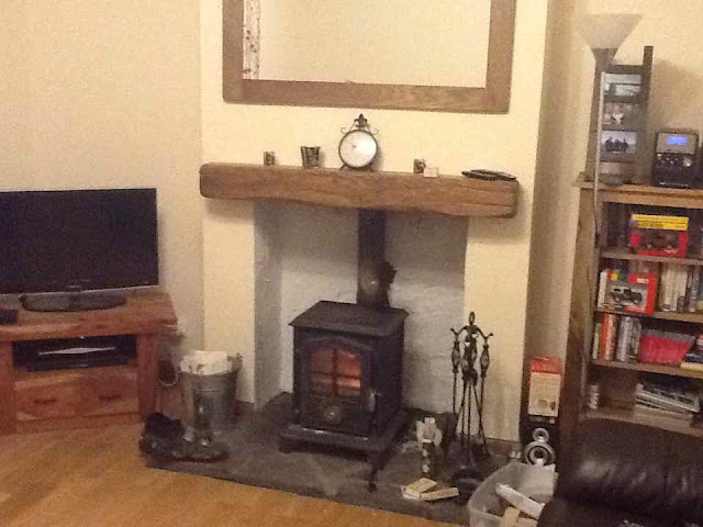 Oak mantel log burner