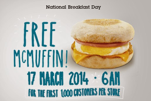 announcement, free grub, National Breakfast Day