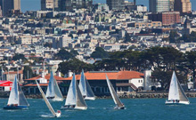 J/105 one-design sailboats- sailing off San Francisco