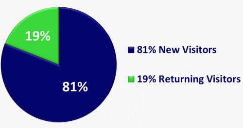 81% new visitors and 19% returning visitors to your website
