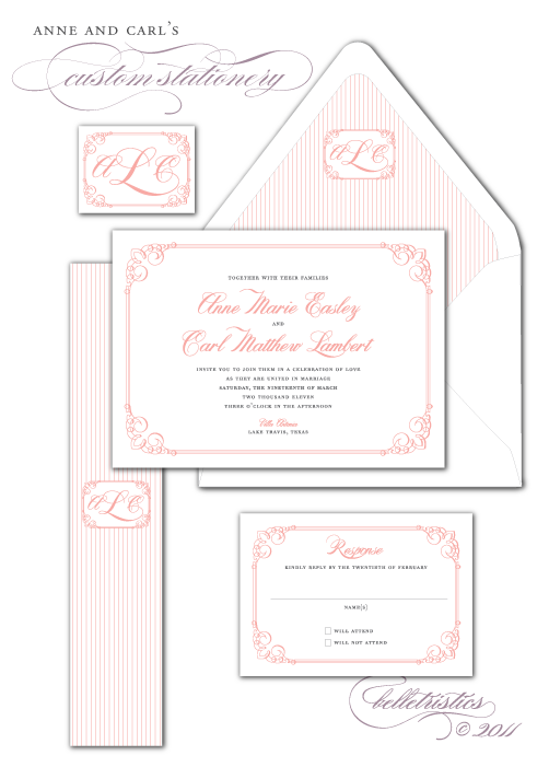 custom pink gray calligraphy printable wedding invitation monogram design