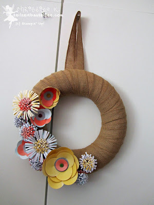 stampin up, kranz landhausblüten, wreath