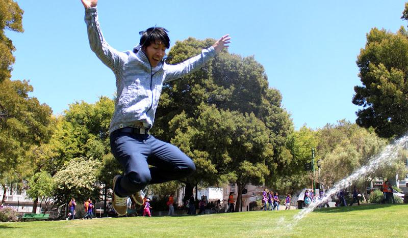 Blue Linen Hoodie Sprinkler Jump