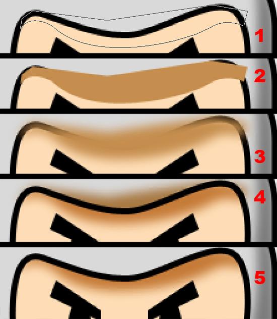 Etapas da criação da sombra no rosto do personagem