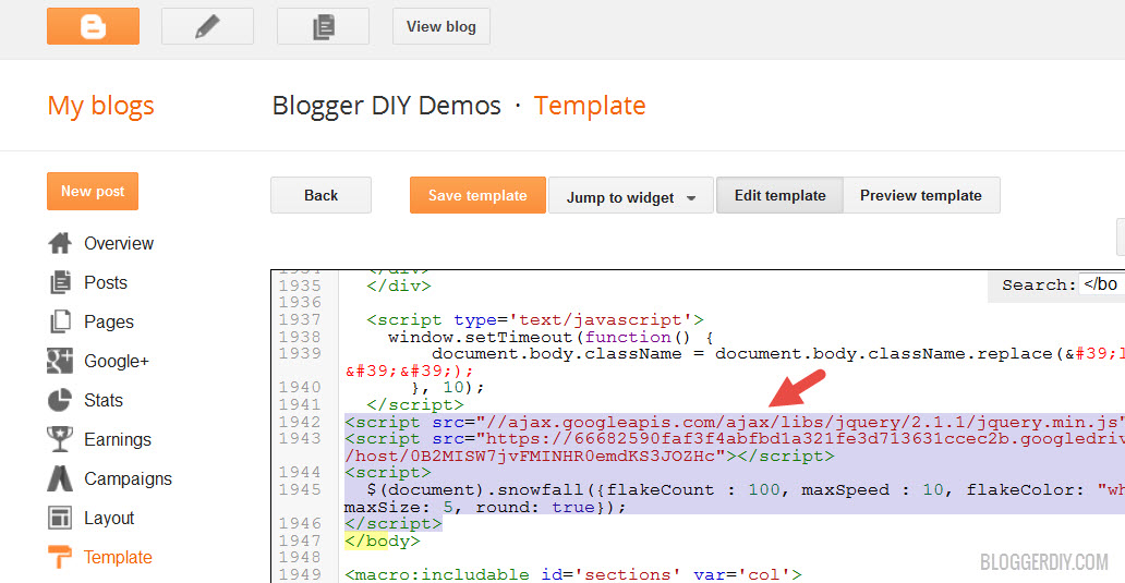Add the code to Blogger template