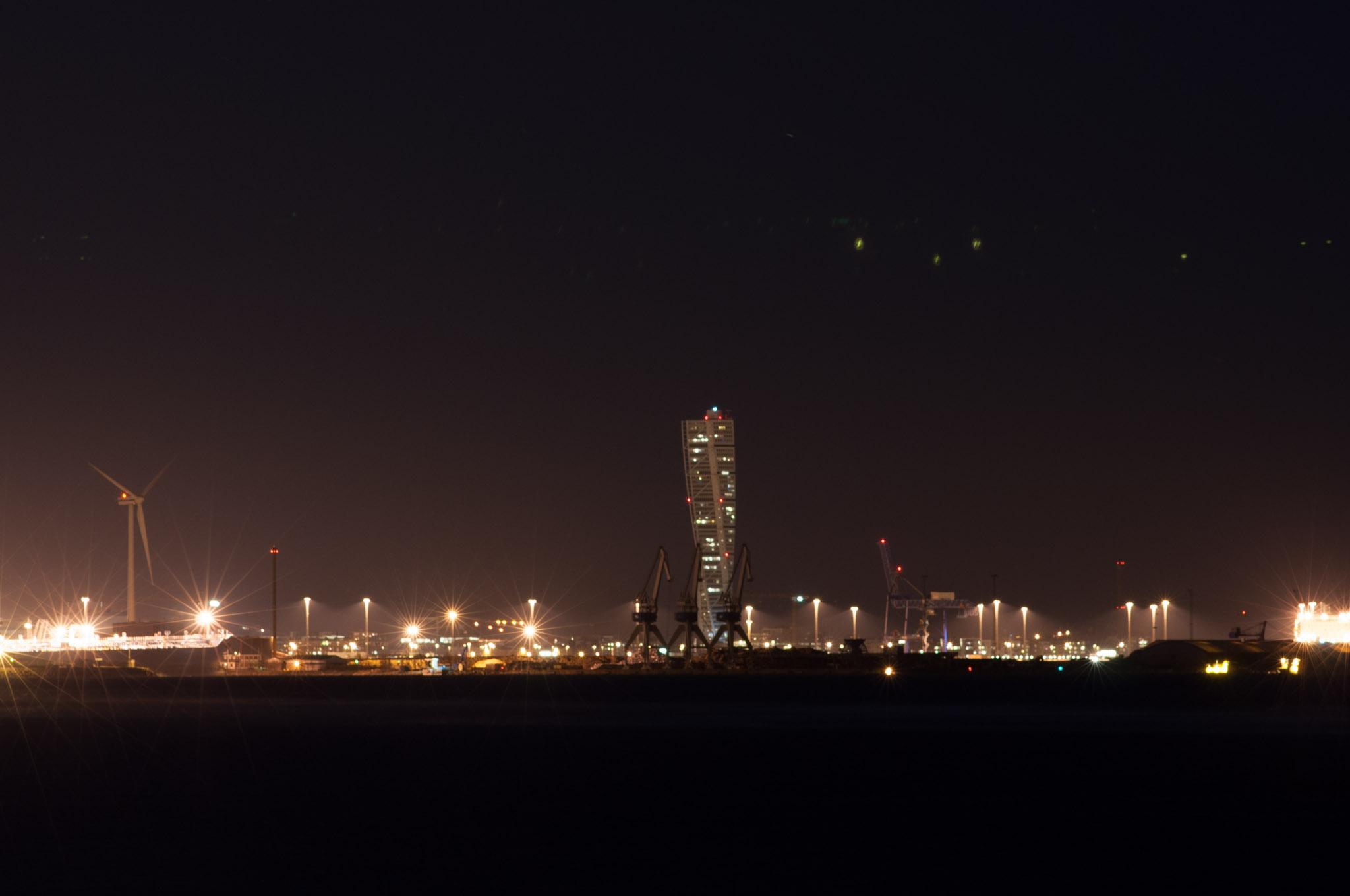Night photo with fake panorama.