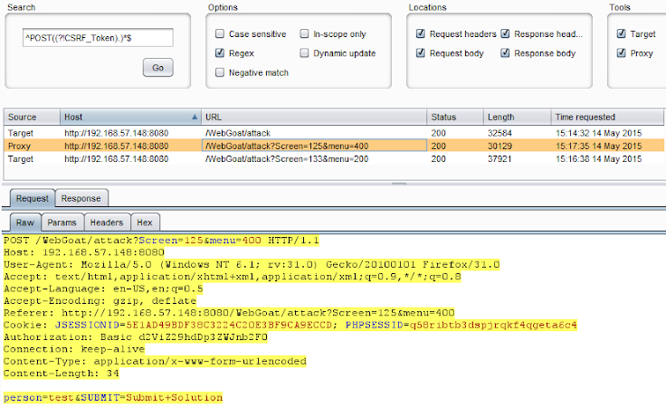 Cross-Site Request Forgery Detection with Burp and Regex