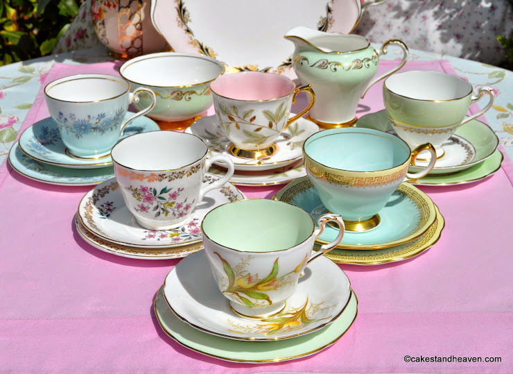 Pastels Mismatched Vintage China Tea Set and Cake Plate