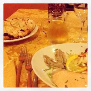 fish dinner at restaurant in Longobardi Marina Calabria