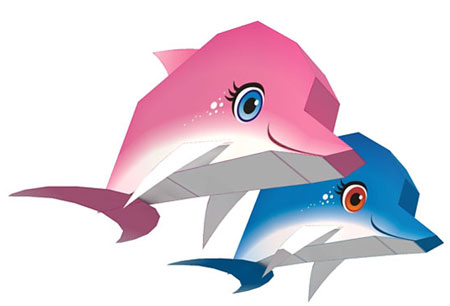 Dolphin Paper Toys