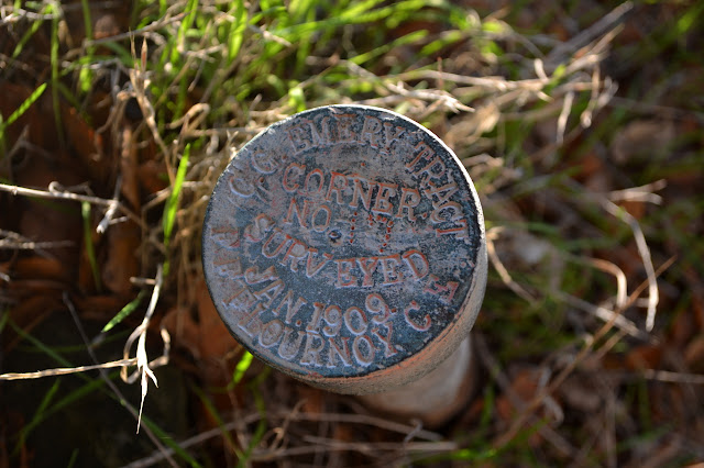 C. G. Emery Tract survey marker from Jan 1909