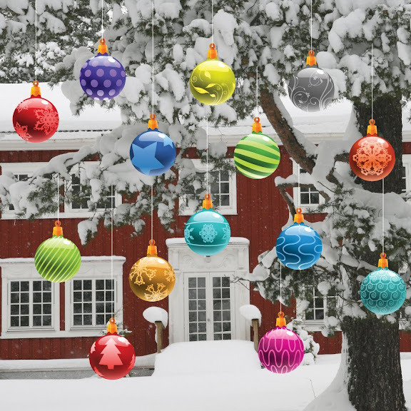 Christmas Yard Decorations - Traditional Hanging Christmas Ornaments (Globes)