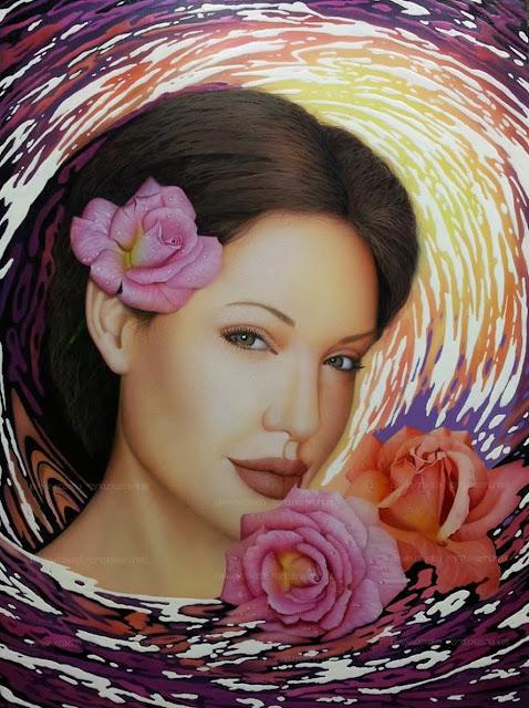 La sonrisa de Angelina,retrato de Paco Yuste