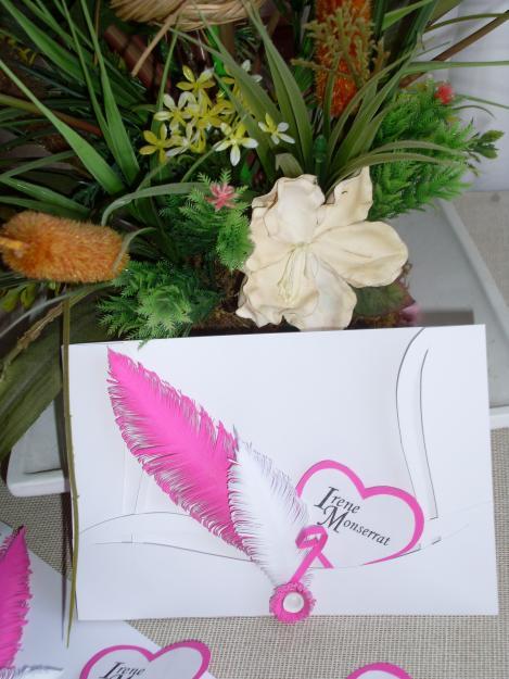 Invitación plumas rosas XV años
