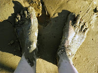 Feet get muddy and make great tracks!