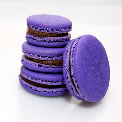 Lavender macarons with honey dark chocolate ganache from The Ginger Cook