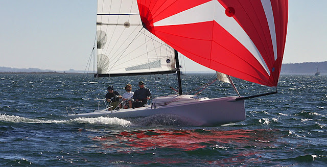 J/70 speedster sailing on Naragansett Bay