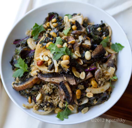 Spicy-Peanut Portobello Kale Rice Bowl.