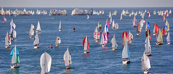 Sailboats on the Round Island sailing race- Cowes, Isle of Wight, England