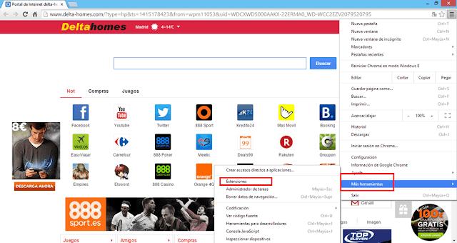 Comprobar extensiones en Google Chromer