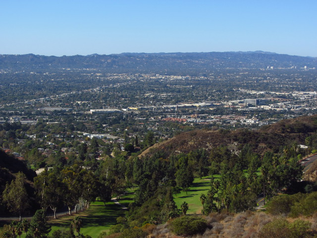 The golf course below and city beyond.