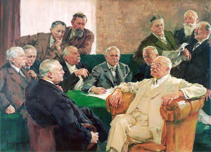 Gemälde: Der Aufsichtsrat der 1925 gegründeten I.G. Farben AG, unter anderem mit Carl Bosch und Carl Duisberg (beide vorne sitzend).