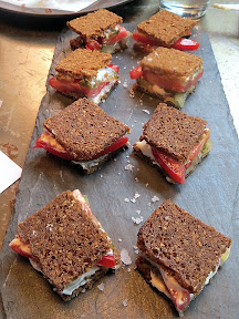 tea sandwiches with tomato, cucumber, gin, and goat cheeses from the bent brick, portland, neighborhood tavern, drinking food